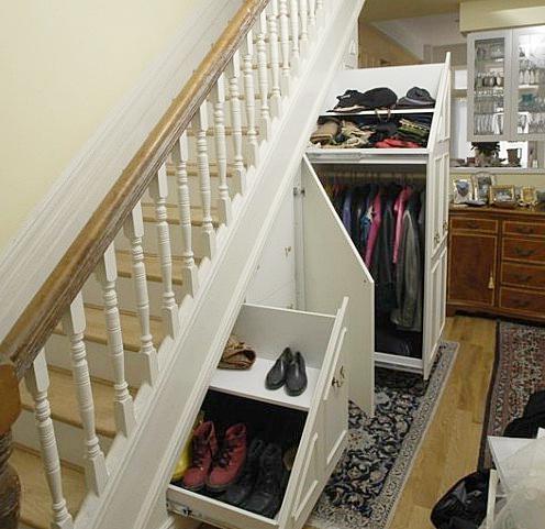 Шкаф под лестницей как сделать