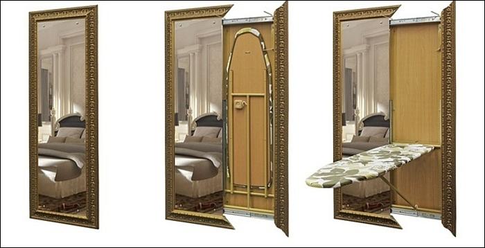 Идеи для интерьера: зеркало с секцией хранения
