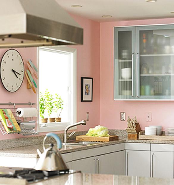 Розовые стены на кухне в интерьере фото