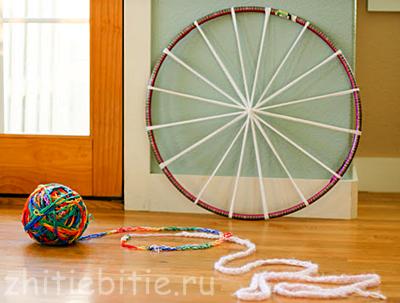 плетение по кругу на обруче пошагово