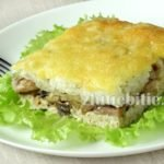 Картофельная запеканка с куриным фаршем и грибами