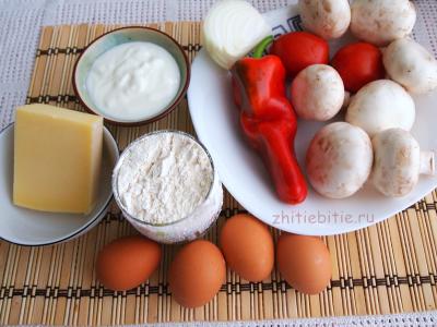Простой и быстрый пирог с грибами, овощами и сыром